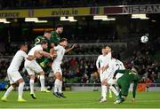 14 November 2019; Derrick Williams of Republic of Ireland heads to score his side's first goal during the International Friendly match between Republic of Ireland and New Zealand at the Aviva Stadium in Dublin. Photo by Seb Daly/Sportsfile