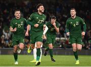 14 November 2019; Derrick Williams, centre, of Republic of Ireland celebrates after scoring his side's first goal with team-mates Troy Parrott, left, and Kevin Long during the 3 International Friendly match between Republic of Ireland and New Zealand at the Aviva Stadium in Dublin. Photo by Stephen McCarthy/Sportsfile