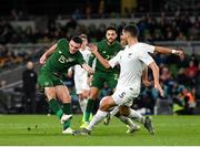 14 November 2019; Troy Parrott of Republic of Ireland sees his shot blocked by Michael Boxall and Sarpreet Singh of New Zealand during the International Friendly match between Republic of Ireland and New Zealand at the Aviva Stadium in Dublin. Photo by Seb Daly/Sportsfile