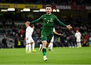 14 November 2019; Sean Maguire of Republic of Ireland celebrates after scoring his side's second goal during the International Friendly match between Republic of Ireland and New Zealand at the Aviva Stadium in Dublin. Photo by Seb Daly/Sportsfile