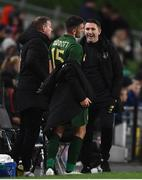 14 November 2019; Troy Parrott of Republic of Ireland is congratulated by assistant coach Robbie Keane after he was substituted in the second half  during the 3 International Friendly match between Republic of Ireland and New Zealand at the Aviva Stadium in Dublin. Photo by Stephen McCarthy/Sportsfile