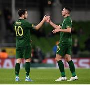 14 November 2019; Troy Parrott of Republic of Ireland is congratulated by team-mate Robbie Brady as he is substituted in the seccond half during the 3 International Friendly match between Republic of Ireland and New Zealand at the Aviva Stadium in Dublin. Photo by Stephen McCarthy/Sportsfile