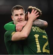 14 November 2019; Callum Robinson of Republic of Ireland celebrates with team-mate James Collins after scoring his side's third goal during the International Friendly match between Republic of Ireland and New Zealand at the Aviva Stadium in Dublin. Photo by Stephen McCarthy/Sportsfile