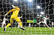 14 November 2019; Callum Robinson of Republic of Ireland heads to score his side's third goal, past Stefan Marinovic of New Zealand, during the International Friendly match between Republic of Ireland and New Zealand at the Aviva Stadium in Dublin. Photo by Seb Daly/Sportsfile