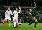 14 November 2019; James Collins of Republic of Ireland sees his shot blocked by Tommy Smith of New Zealand during the International Friendly match between Republic of Ireland and New Zealand at the Aviva Stadium in Dublin. Photo by Seb Daly/Sportsfile