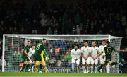 14 November 2019; Robbie Brady of Republic of Ireland takes a free kick for his side during the International Friendly match between Republic of Ireland and New Zealand at the Aviva Stadium in Dublin. Photo by Eóin Noonan/Sportsfile