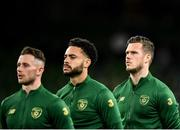 14 November 2019; Kevin Long of Republic of Ireland, right, with team-mates Alan Browne, left, and Derrick Williams during the national anthem prior to the International Friendly match between Republic of Ireland and New Zealand at the Aviva Stadium in Dublin. Photo by Seb Daly/Sportsfile