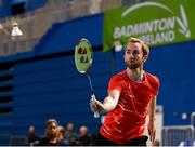 15 November 2019; Sam Magee of Ireland in action against Mathias Thyrri and Mai Surrow of Denmark during his mixed doubles quarter-final match of the AIG FZ Forza Irish Open Badminton Championships at the National Indoor Arena in Abbotstown, Dublin. Photo by Seb Daly/Sportsfile