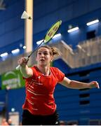 15 November 2019; Chloe Magee of Ireland in action against Mathias Thyrri and Mai Surrow of Denmark during her mixed doubles quarter-final match of the AIG FZ Forza Irish Open Badminton Championships at the National Indoor Arena in Abbotstown, Dublin. Photo by Seb Daly/Sportsfile