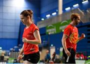 15 November 2019; Chloe Magee and Sam Magee of Ireland celebrate winning a point during their mixed doubles quarter-final match against Mathias Thyrri and Mai Surrow of Denmark at the AIG FZ Forza Irish Open Badminton Championships at the National Indoor Arena in Abbotstown, Dublin. Photo by Seb Daly/Sportsfile