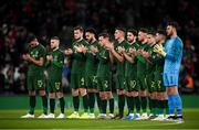 14 November 2019; Republic of Ireland players during a moments applause prior to the International Friendly match between Republic of Ireland and New Zealand at the Aviva Stadium in Dublin. Photo by Stephen McCarthy/Sportsfile