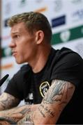 12 November 2019; A detailed view of tatoos on the arm of James McClean during a Republic of Ireland press conference at the FAI National Training Centre in Abbotstown, Dublin. Photo by Stephen McCarthy/Sportsfile