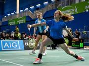 15 November 2019; Kate Frost, right, and Moya Ryan of Ireland in action against Clara Nistad and Moa Sjoo of Sweden during their women's doubles quarter-final match of the AIG FZ Forza Irish Open Badminton Championships at the National Indoor Arena in Abbotstown, Dublin. Photo by Seb Daly/Sportsfile