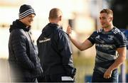 15 November 2019; Senior coach Stuart Lancaster, centre, in conversation with Josh van der Flier, left, and Jordan Larmour during the Leinster Rugby captain's run at the RDS Arena in Dublin. Photo by Ramsey Cardy/Sportsfile