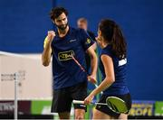 15 November 2019; Ronan Labar, left, and Anna Tran of France congratulate each other following victory during their mixed doubles semi-final match against Chloe Magee and Sam Magee of Ireland at the AIG FZ Forza Irish Open Badminton Championships at the National Indoor Arena in Abbotstown, Dublin. Photo by Seb Daly/Sportsfile