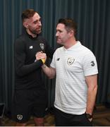 15 November 2019; Richard Keogh on his arrival into the Republic of Ireland team hotel with assistant coach Robbie Keane in advance of their UEFA EURO2020 Qualifier against Denmark, on Monday at the Aviva Stadium in Dublin. Photo by Stephen McCarthy/Sportsfile