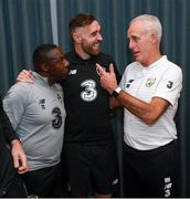 15 November 2019; Richard Keogh on his arrival into the Republic of Ireland team hotel with Republic of Ireland manager Mick McCarthy, right, and assistant manager Terry Connor, left, in advance of their UEFA EURO2020 Qualifier against Denmark, on Monday at the Aviva Stadium in Dublin. Photo by Stephen McCarthy/Sportsfile