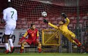 15 November 2019; Montenegro goalkeeper Nikola Ivezic Anselmo is beaten by a header from Anselmo Garcia McNulty for the Republic of Ireland's second goal during the Under-17 UEFA European Championship Qualifier match between Republic of Ireland and Montenegro at Turner's Cross in Cork. Photo by Piaras Ó Mídheach/Sportsfile