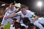 15 November 2019; Republic of Ireland captain Gavin Liam O'Brien, right, and his team-mates celebrate after the Under-17 UEFA European Championship Qualifier match between Republic of Ireland and Montenegro at Turner's Cross in Cork. Photo by Piaras Ó Mídheach/Sportsfile