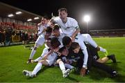 15 November 2019; Republic of Ireland captain Gavin Liam O'Brien, top, and his team-mates celebrate after the Under-17 UEFA European Championship Qualifier match between Republic of Ireland and Montenegro at Turner's Cross in Cork. Photo by Piaras Ó Mídheach/Sportsfile