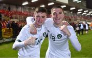 15 November 2019; Republic of Ireland players Ben McCormack, left, and Oisín Hand celebrate after the Under-17 UEFA European Championship Qualifier match between Republic of Ireland and Montenegro at Turner's Cross in Cork. Photo by Piaras Ó Mídheach/Sportsfile