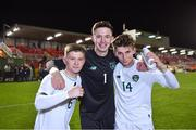 15 November 2019; Republic of Ireland players, from left, Kyle Martin-Conway, Daniel Rose, and Oliver O'Neill celebrate after the Under-17 UEFA European Championship Qualifier match between Republic of Ireland and Montenegro at Turner's Cross in Cork. Photo by Piaras Ó Mídheach/Sportsfile