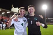 15 November 2019; Republic of Ireland players Leigh Kavanagh, left, and Daniel Rose celebrate after the Under-17 UEFA European Championship Qualifier match between Republic of Ireland and Montenegro at Turner's Cross in Cork. Photo by Piaras Ó Mídheach/Sportsfile