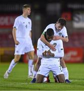 15 November 2019; Sinclair Armstrong of Republic of Ireland, front, and his team-mate Gavin Liam O'Brien celebrate after the Under-17 UEFA European Championship Qualifier match between Republic of Ireland and Montenegro at Turner's Cross in Cork. Photo by Piaras Ó Mídheach/Sportsfile