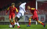 15 November 2019; Sinclair Armstrong of Republic of Ireland in action against Andrej Bajovic, left, and Milun Jokovic of Montenegro during the Under-17 UEFA European Championship Qualifier match between Republic of Ireland and Montenegro at Turner's Cross in Cork. Photo by Piaras Ó Mídheach/Sportsfile
