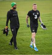 16 November 2019; David McGoldrick, left, and James McClean during a Republic of Ireland training session at the FAI National Training Centre in Abbotstown, Dublin. Photo by Stephen McCarthy/Sportsfile