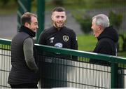 16 November 2019; Jack Byrne with Shamrock Rovers goalkeeping coach Jose Ferrer, left, and Dr Alan Byrne, team doctor, during a Republic of Ireland training session at the FAI National Training Centre in Abbotstown, Dublin. Photo by Stephen McCarthy/Sportsfile