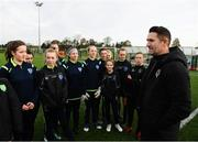 16 November 2019; Republic of Ireland assistant coach Robbie Keane with Metropolitan Girls League North & South U14 squads prior to a Republic of Ireland training session at the FAI National Training Centre in Abbotstown, Dublin. Photo by Stephen McCarthy/Sportsfile