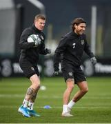 16 November 2019; James McClean, left, and Jeff Hendrick during a Republic of Ireland training session at the FAI National Training Centre in Abbotstown, Dublin. Photo by Stephen McCarthy/Sportsfile