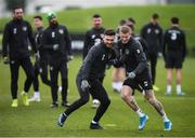 16 November 2019; Scott Hogan and James McClean, right, during a Republic of Ireland training session at the FAI National Training Centre in Abbotstown, Dublin. Photo by Stephen McCarthy/Sportsfile