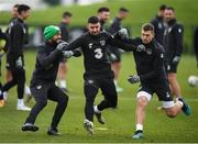 16 November 2019; David McGoldrick, left, Enda Stevens and James Collins during a Republic of Ireland training session at the FAI National Training Centre in Abbotstown, Dublin. Photo by Stephen McCarthy/Sportsfile