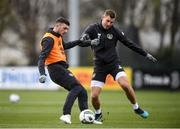 16 November 2019; Troy Parrott, left, and James Collins during a Republic of Ireland training session at the FAI National Training Centre in Abbotstown, Dublin. Photo by Stephen McCarthy/Sportsfile