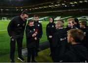 14 November 2019; Republic of Ireland assistant coach Robbie Keane with ball boys prior to the International Friendly match between Republic of Ireland and New Zealand at the Aviva Stadium in Dublin. Photo by Eóin Noonan/Sportsfile