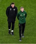 14 November 2019; Matt Doherty, left, and James McClean of Republic of Ireland ahead of the International Friendly match between Republic of Ireland and New Zealand at the Aviva Stadium in Dublin. Photo by Ben McShane/Sportsfile