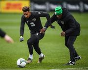 16 November 2019; Callum Robinson, left, and Republic of Ireland assistant coach Terry Connor during a Republic of Ireland training session at the FAI National Training Centre in Abbotstown, Dublin. Photo by Stephen McCarthy/Sportsfile