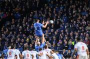 16 November 2019; Supporters watch on as James Ryan of Leinster wins possession in the line-out during the Heineken Champions Cup Pool 1 Round 1 match between Leinster and Benetton at the RDS Arena in Dublin. Photo by Ramsey Cardy/Sportsfile