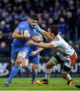 16 November 2019; Max Deegan of Leinster is tackled by Giovanni Pettinelli of Benetton during the Heineken Champions Cup Pool 1 Round 1 match between Leinster and Benetton at the RDS Arena in Dublin. Photo by Ramsey Cardy/Sportsfile