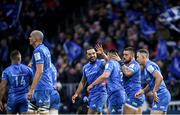 16 November 2019; Rónan Kelleher of Leinster is congratulated by team-mates after scoring his side's third try during the Heineken Champions Cup Pool 1 Round 1 match between Leinster and Benetton at the RDS Arena in Dublin. Photo by Ramsey Cardy/Sportsfile