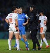 16 November 2019; Fergus McFadden, right, and Jordan Larmour of Leinster in conversation with Ian Keatley of Benetton following the Heineken Champions Cup Pool 1 Round 1 match between Leinster and Benetton at the RDS Arena in Dublin. Photo by Ramsey Cardy/Sportsfile
