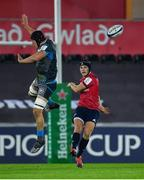 16 November 2019; Tyler Bleyendaal of Munster sees his kick charged down by Lloyd Ashley of Ospreys during the Heineken Champions Cup Pool 4 Round 1 match between Ospreys and Munster at Liberty Stadium in Swansea, Wales. Photo by Seb Daly/Sportsfile