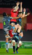 16 November 2019; Chris Farrell of Munster in action against Marvin Orie, left, and Scott Williams of Ospreys during the Heineken Champions Cup Pool 4 Round 1 match between Ospreys and Munster at Liberty Stadium in Swansea, Wales. Photo by Seb Daly/Sportsfile