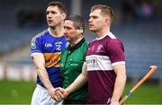 3 November 2019; Referee Fergal Horgan with the two captains, Joe Gallagher of Kiladangan and Sean McCormack of Borris-Ileigh, before the Tipperary County Senior Club Hurling Championship Final match between  Borris-Ileigh and Kiladangan at Semple Stadium in Thurles, Tipperary. Photo by Ray McManus/Sportsfile