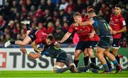 16 November 2019; Rory Scannell of Munster is tackled by Dan Lydiate of Ospreys during the Heineken Champions Cup Pool 4 Round 1 match between Ospreys and Munster at Liberty Stadium in Swansea, Wales. Photo by Seb Daly/Sportsfile