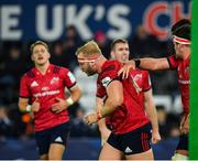 16 November 2019; Jeremy Loughman of Munster, centre, is congratulated by team-mates after scoring his side's first try during the Heineken Champions Cup Pool 4 Round 1 match between Ospreys and Munster at Liberty Stadium in Swansea, Wales. Photo by Seb Daly/Sportsfile
