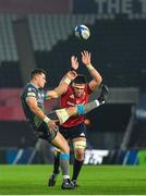 16 November 2019; Shaun Venter of Ospreys in action against Billy Holland of Munster during the Heineken Champions Cup Pool 4 Round 1 match between Ospreys and Munster at Liberty Stadium in Swansea, Wales. Photo by Seb Daly/Sportsfile