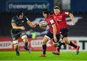 16 November 2019; Tyler Bleyendaal of Munster in action against Lloyd Ashley of Ospreys during the Heineken Champions Cup Pool 4 Round 1 match between Ospreys and Munster at Liberty Stadium in Swansea, Wales. Photo by Seb Daly/Sportsfile